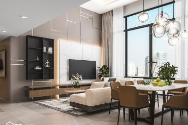 Cozy apartment interior design in Canary Tower (Diamond Island)